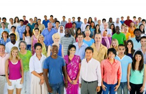 large multi-ethnic group of people